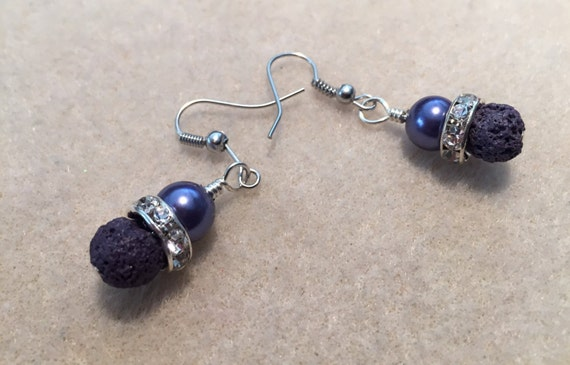 Lava Bead and Pearl Essential Oil Diffuser Earrings. Purple Pearls with Purple Lava Stone Beads and Rhinestones. Silver Ear Wires.