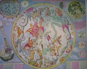 Star Chart - Southern Hemisphere print for sky gazers - 1700 Dutch Map - Constellations and Zodiak signs beautiful map of the sky