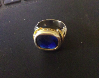 Blue Topaze with silver & gold