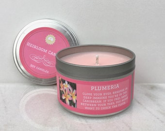 Plumeria Scented Soy Candle - Tropical Soy Candle - Gift for Her - Hawaiian candle - Home Decor Gift - Aromatherapy candle - Floral Candle
