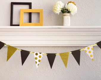Graduation Party Banner - Pennant Banner - Black and Gold Banner - Paper Bunting - Graduation Banner -  Birthday Banner - Paper Garland