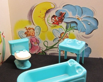 Sink and Tub Set for Dollhouse Vintage 50s Aqua Blue Bathtub Vanity Plasco Plastic Toys Turquoise Blue Miniature Doll Furniture