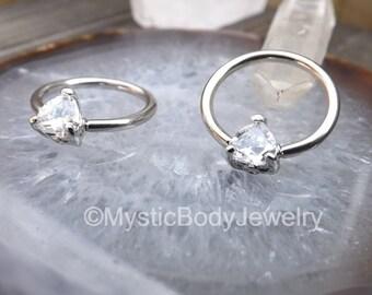 "14g Conch Piercing Ring 1/2"" Silver Heart Earring Gemstone Nipple Piercings Captive Bead Rings Diamond Body Jewelry Stainless Steel Ear Hoop"