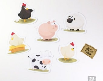 Farm animal stickers, Sheep, Piggy, Cow, Hens, corn sack, Chicken, oink, Pig, Farm, Illustration, hand cut, Farmyard