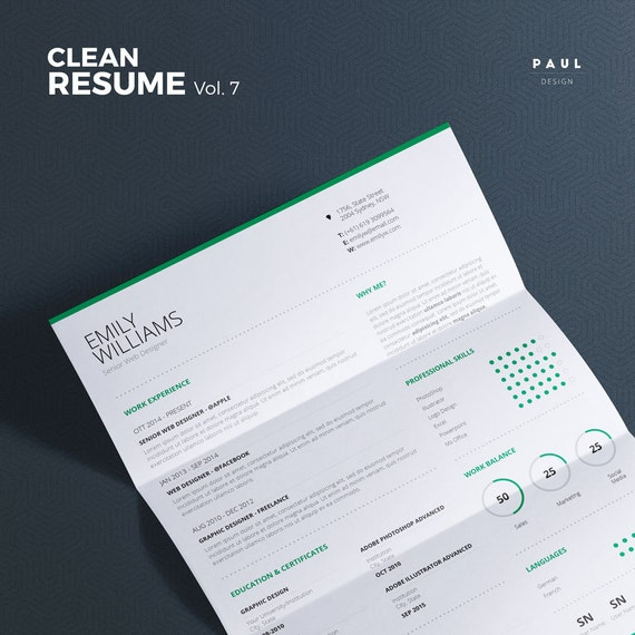 clean resume vol 7 word and indesign by theresumecreator