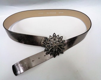 B.Cavalli belt, Silver ton Leather Belt, Italian Leather Belt, Designer Belt, Belt with Rhinestone Buckle, Flower Belt Buckle, Gray