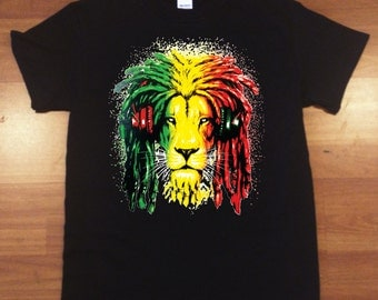 Lion Rasta T-shirts Men's T-Shirts Black-Sports Gray
