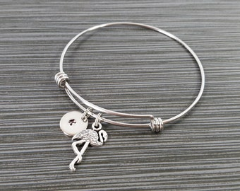 Flamingo Bangle - Flamingo Charm Bracelet - Expandable Bangle - Charm Bangle - Flamingo Bracelet - Initial Bracelet - Bird Bracelet