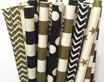 Paper Straws - Set of 25 - Black and Gold Straws - Cake Pop Sticks - Drinking Straws