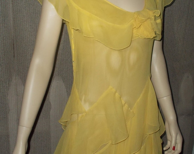 Vintage 20s 30s Art Deco Flapper Great Gatsby Gown Yellow Sheer Chiffon Party Womens Floor Length Maxi Dress