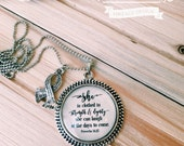 Proverbs 31:25 Necklace, Words on Necklace, Bible Verse on Necklace, She is clothed in strength & dignity, she laughs without fear