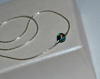 OPAL NECKLACE // Opal Ball Necklace - Opal Jewelry - Green Blue Opal Necklace Silver - Dot Necklace - Drop Necklace - Opal Charm Necklace