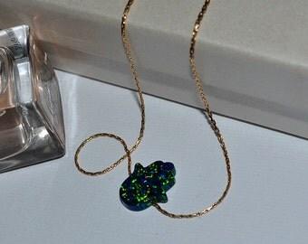 OPAL HAMSA NECKLACE // Opal Necklace - Green Blue Opal Hand Necklace - Hand Of Fatima Necklace Gold - Hand Of Hamsa Necklace - Opal Jewelry
