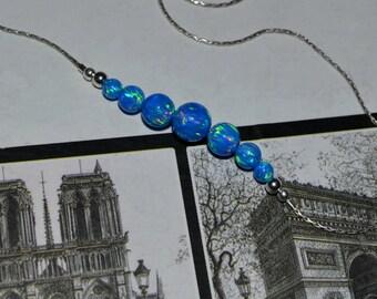 OPAL NECKLACE // Tiny Opal Necklace Silver - Dark Blue Opal Ball Necklace - Dot Necklace - Single Bead Necklace - Opal Bead Necklace