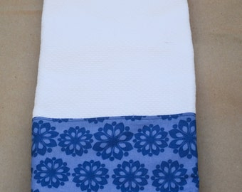 Kitchen Towel / White Tea Towel with Blue Flower print w/ Crochet Trim