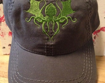 Cthulhu cap, H.P. Lovecraft embroidered cap, octopus, Cthulhu wars, eye of Cthulhu, gift under 20, teen gift, horror gift