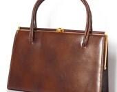 Vintage brown top handle bag