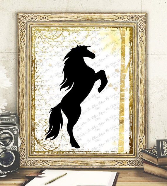 Wall Art Black Horse : Gold black digital print wall art horse printable