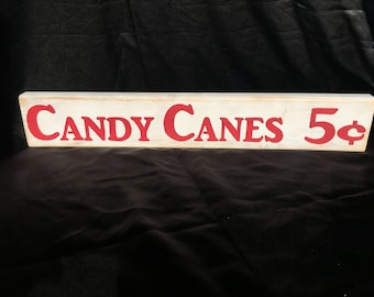 Candy Cane wood sign