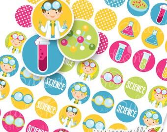 Scientist Kids Printable 1 Inch Circles, Bottle Cap Circles, Printable Science Circles, Printable Candy Circles, Science Party Circles