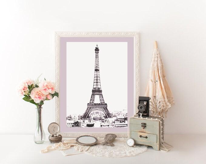 VINTAGE EIFFEL TOWER Photography Digital Print Lavender Purple Tinted Photograph Paris Digital Print French Eiffel Tower Printable Diy