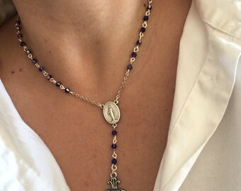 """Blue Crystal Rosary Necklace 17.5""""-20"""" Adjustable"""