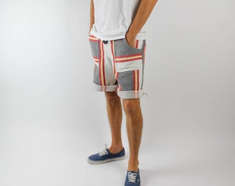 Vintage 90s Hippie Drug Rug Shorts - Rad Striped Surfer Beach Shorts