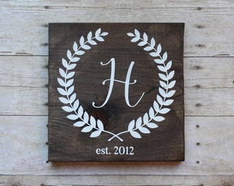 "Initial wood sign - 11.25""x12"", rustic wood sign, last initial sign, initial and garland, gallery wall sign, family established wood sign"