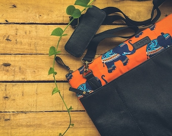 Clovve Handmade Buffalo Leather & Block Printed Canvas Hipster Cross Body Laptop Bag | Unisex | 16 inches