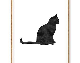 Cat Print, Cat Printable, Cat Printable, Printable Wall Art, Watercolor Cat, Cat Wall Art, Black Cat Decor, Cat Lover Gift 16 x 20 inches