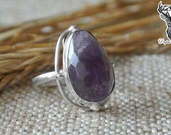 Amethyst ring boho style, amethyst ring