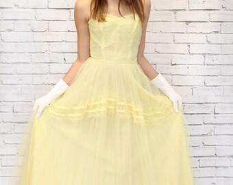 Vintage 1950's Harry Keiser Sunny Yellow Net Tulle Dress