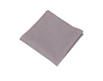 "Dove Grey Pocket Square.Mens Linen Pocket Square.Wedding Handkerchief.10""x10"""