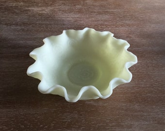 Fenton Lime Green Frosted Satin Glass Bowl with fluted edges Green Sherbert Fenton Candy Dish