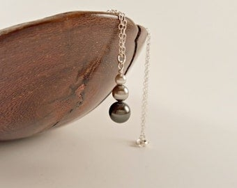 Grey Swarovski Pearl Simple Drop Pendant