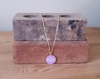 Purple Enamel Disc Necklace, gold accent necklace, Lavender and Gold Necklace