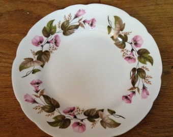 Vintage Springfield Side Plate with a Pretty Pink & Green  Floral Pattern - In Good Condition