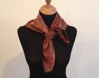 1960's Vintage Red/Brown Cotton Twill Scarf