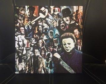 Horror Canvas Print - Various Sizes - Horror Legends Collage - Freddy Krueger, Michael Myers, Jason Voorhees, Leatherface, Scream, Jaws etc.