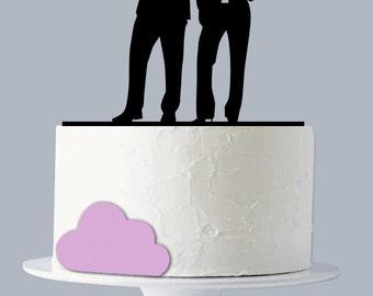 Gun wedding Cake Topper, Armed Couple silhouette,Spy Cake Topper, Wedding Decoration - A1034