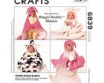 Kids Animal Blanket Pattern McCalls 6839 Hooded Huggie Buddie Blankie Sewing Pattern Lamb Bunny or Cow Security Blanket UNCUT