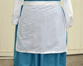 Simple Cotton Apron in White or Cream for Belle Cinderella Tiana Costume and Cosplay in Regular and Plus Size 2-32+