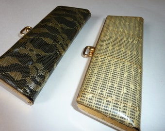 Eye glass cases  for eyeglasses or sunglasses Roaring 1960s  Sparkly Plastic with gold painted edging retro stlyish and fun