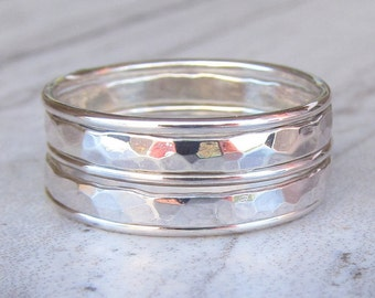 Sterling Silver Stacking Ring Set - Hammered Silver Ring Best Friend Gift - Unique Rings for Her - Bohemian Ring for Women Simple Ring