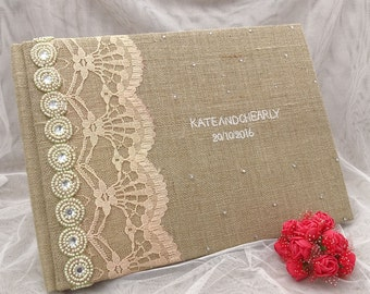 Wedding Sign In Book, Burlap Guest Book, Rustic Guest Book, Personalized Guest Book, Lace Guest Book 50 Pages Custom Guestbook GB7