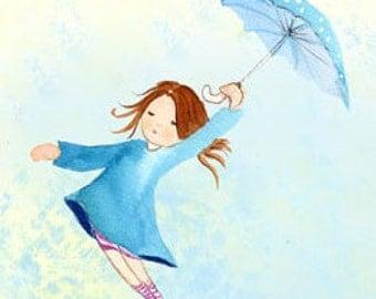 Girl with Umbrella, pale blue sky ,umbrella girl, azure blue Drawing, umbrella art print, fairytale art print, little girls bedroom