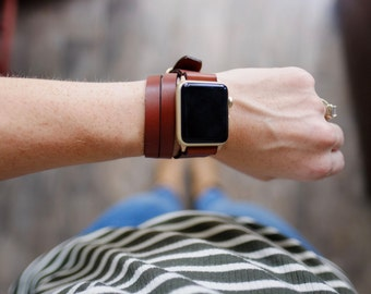 Triple Tour Full Grain Leather Apple Watch Band - Medium Brown | Made in USA