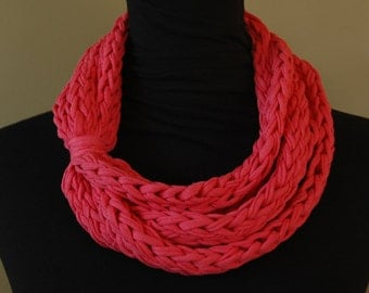 Finger-Knit Infinity Scarf - Hot Pink T-Shirt
