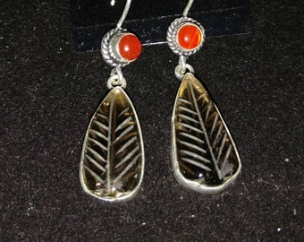 Topaz and Carnelian Dangle Earrings