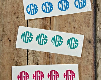 "Circle Monogram 4 for 1.00, 1/2"" Monogram, Half Inch Monogram, 1/2 in, mini monogram, iPhone charger monogram, Gun monogram, Sunglasses mono"